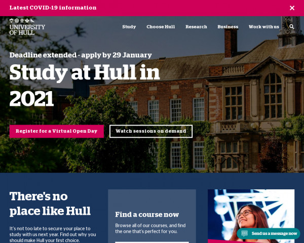 Screenshot of Study with us in 2021   University of Hull
