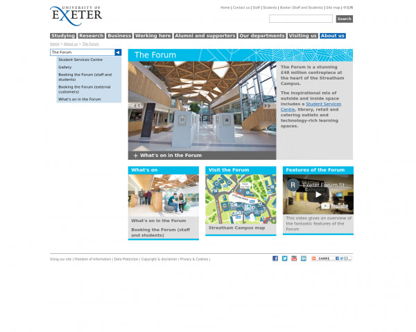 Screenshot of The Forum - The Forum - University of Exeter