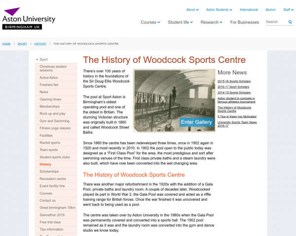 Screenshot of The History of Woodcock Sports Centre