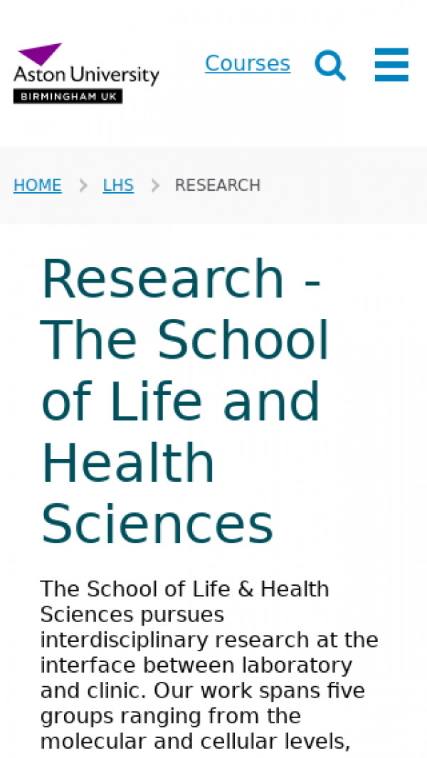 Screenshot of Research - The School of Life and Health Sciences