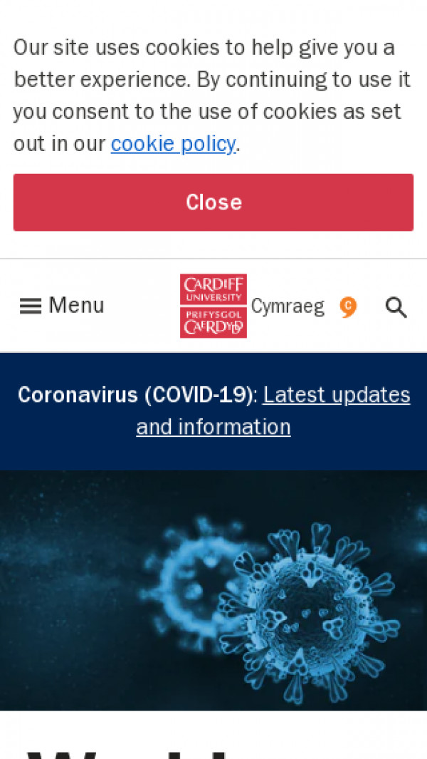 Mobile screenshot of Cardiff University website