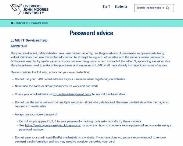 Screenshot of Password advice | Liverpool John Moores University