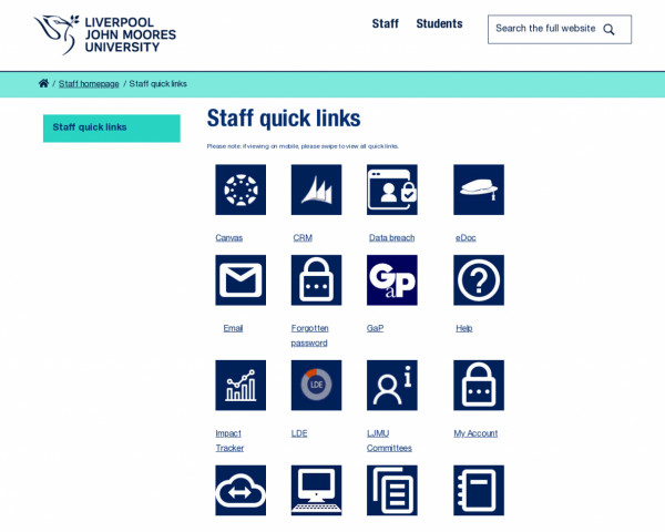 Screenshot of Staff quick links | Liverpool John Moores University