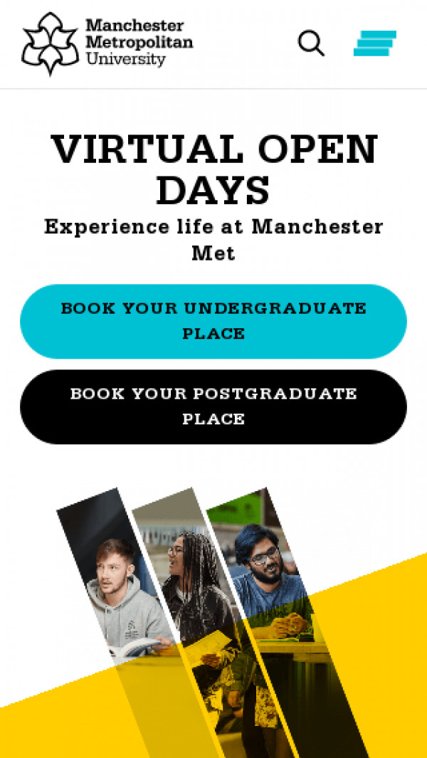 Mobile screenshot of Manchester Metropolitan University website