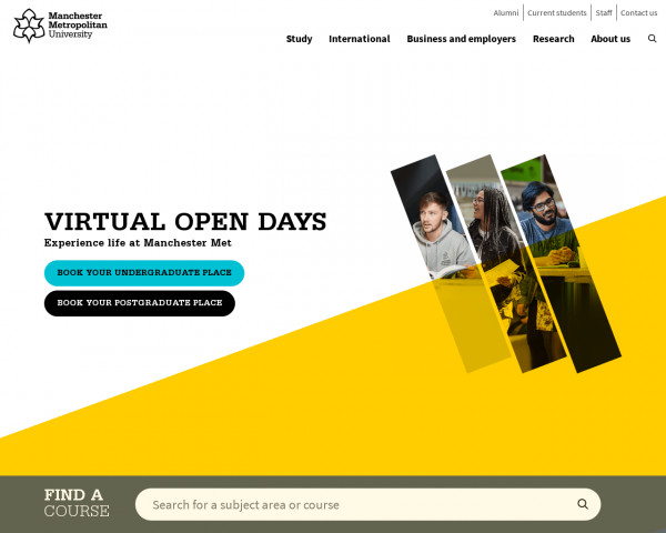 Desktop screenshot of Manchester Metropolitan University website