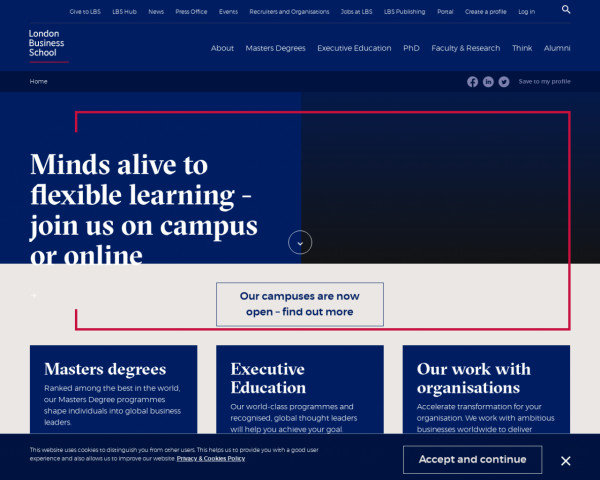 Desktop screenshot of London Business School website