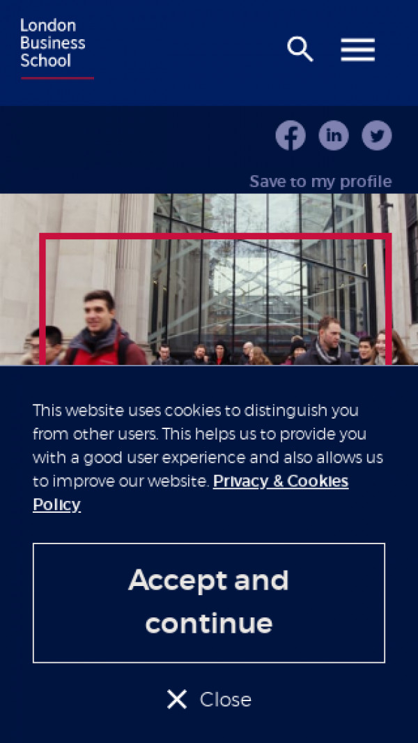 Mobile screenshot of London Business School website