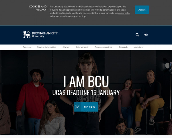 Desktop screenshot of Birmingham City University website