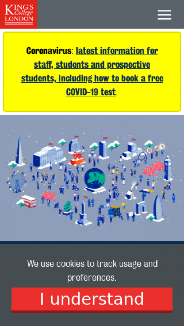 Mobile screenshot of King's College London website