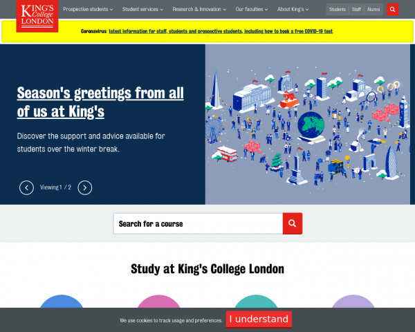 Desktop screenshot of King's College London website