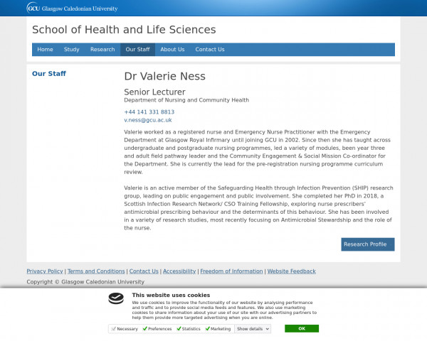 Screenshot of Ness, Val | Health and Life Sciences