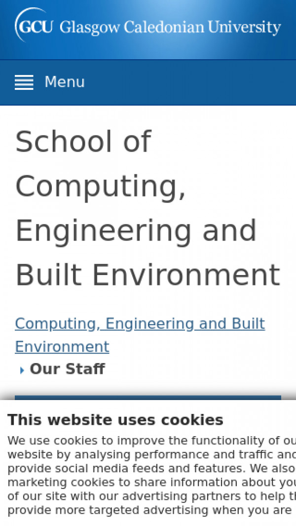 Screenshot of Our Staff | Computing, Engineering and Built Environment