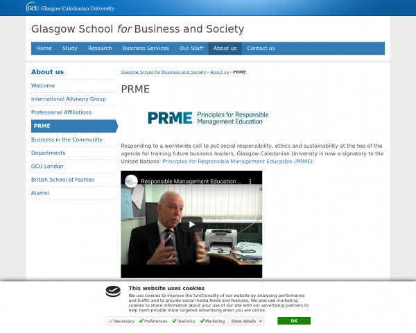 Screenshot of PRME | Glasgow School for Business and Society