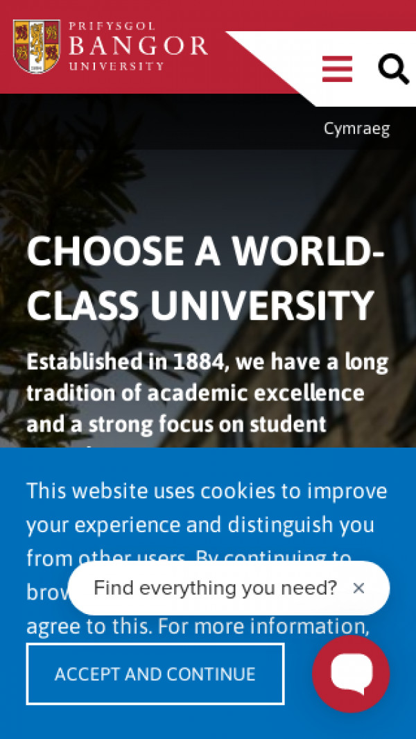 Mobile screenshot of Bangor University website