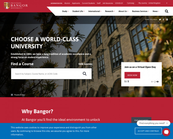 Desktop screenshot of Bangor University website