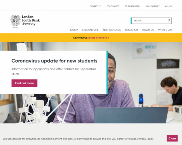 Desktop screenshot of London South Bank University website