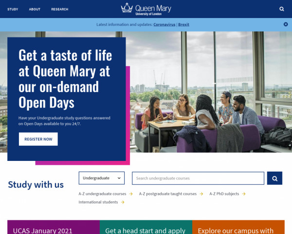 Desktop screenshot of Queen Mary University of London website