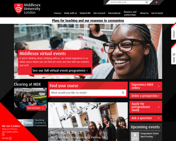 Desktop screenshot of Middlesex University London website