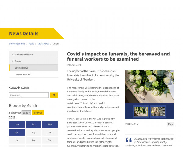 Screenshot of Covid's impact on funerals, the bereaved and funeral workers to be examined | News | The University of Aberdeen