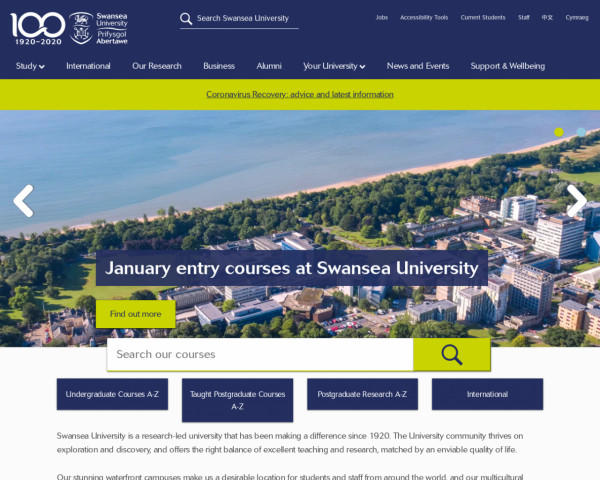 Desktop screenshot of Swansea University website