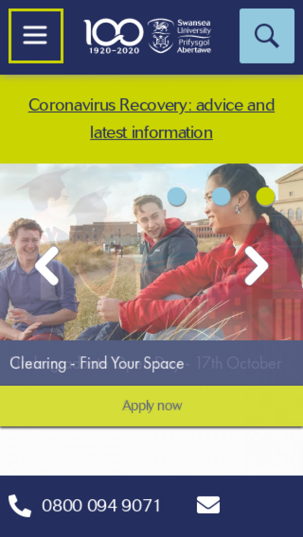 Mobile screenshot of Swansea University website