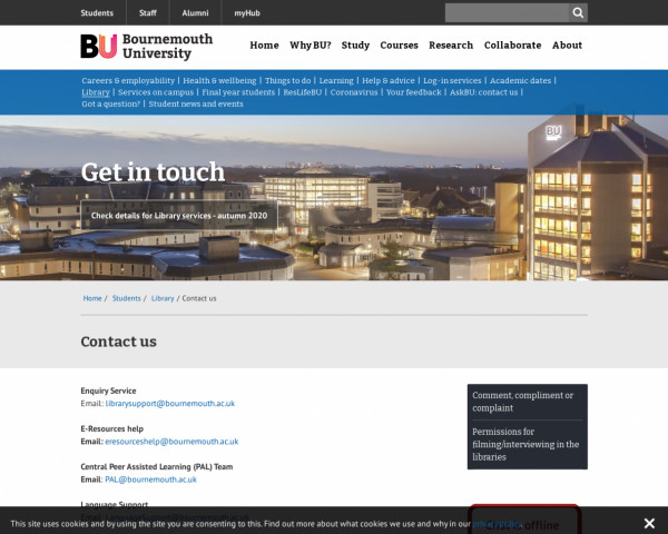 Screenshot of Contact us | Bournemouth University