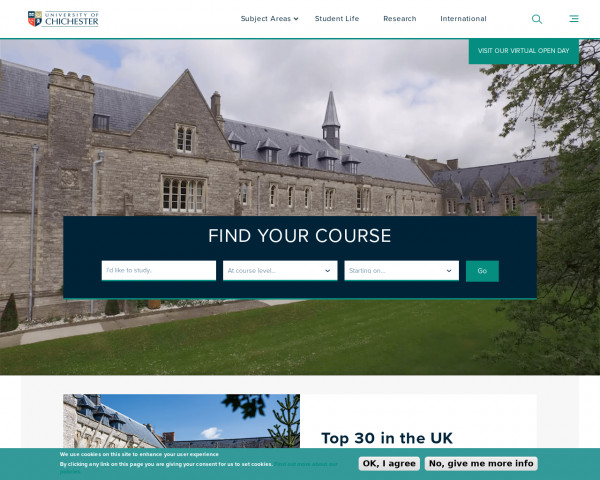 Screenshot of University of Chichester |