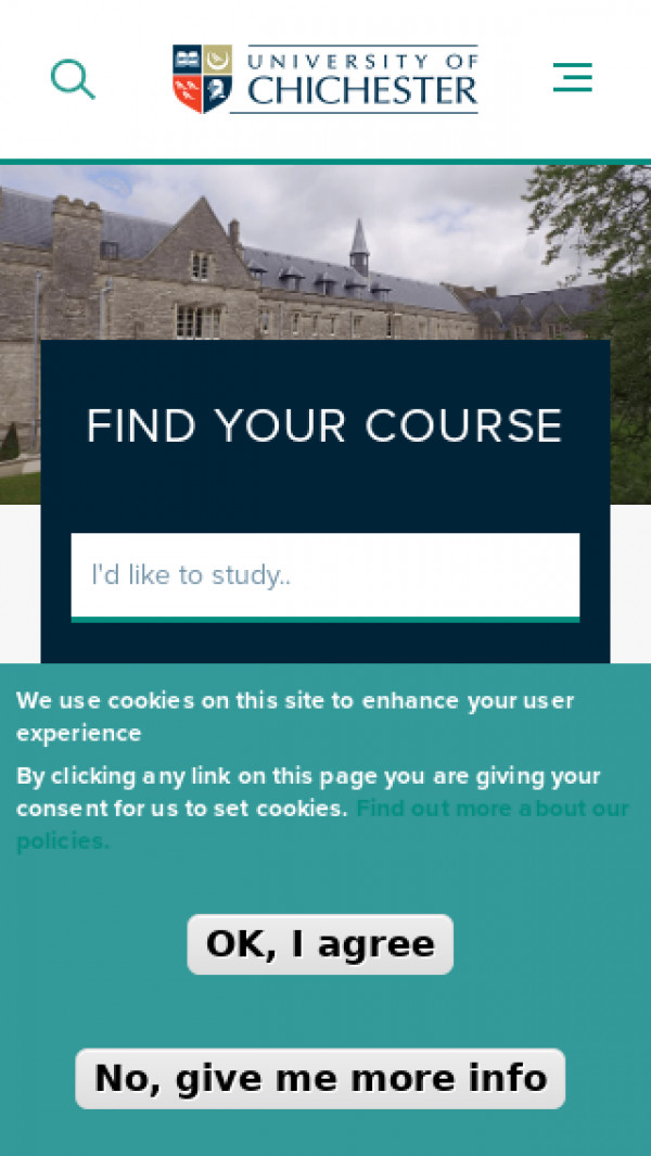 Mobile screenshot of University of Chichester website