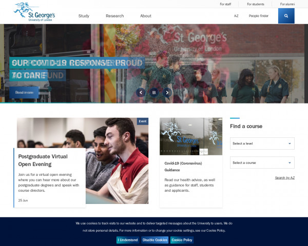 Desktop screenshot of St George's University of London website
