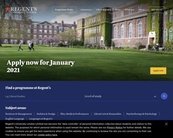 Desktop screenshot of Regent's University London website