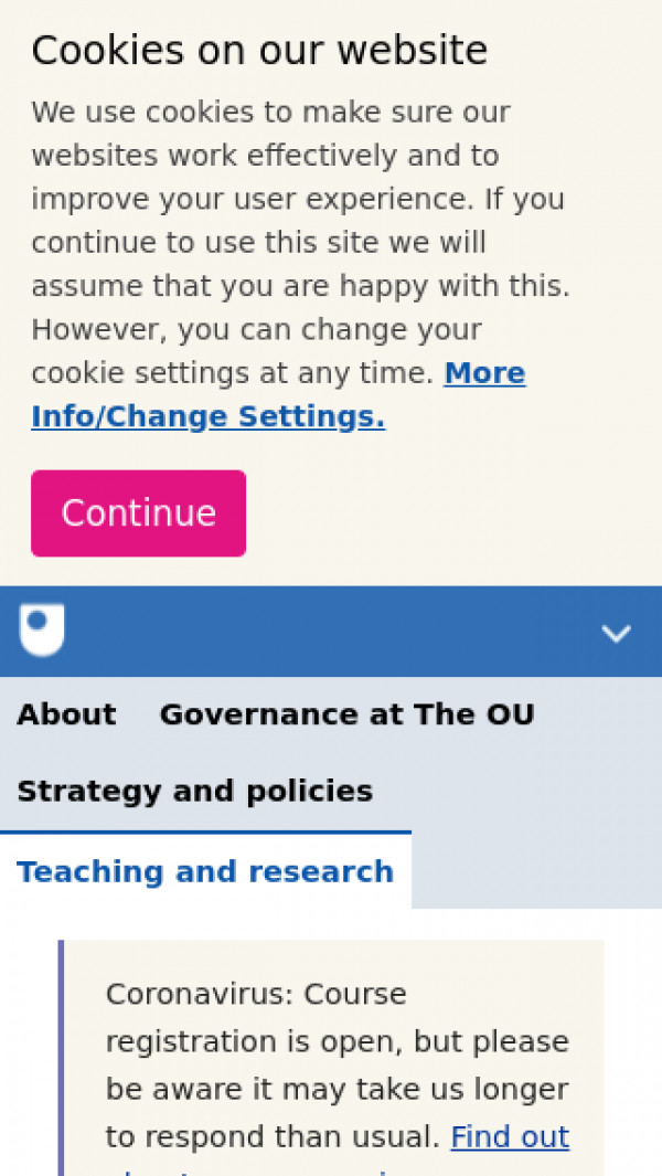 Screenshot of Teaching and research   About The Open University
