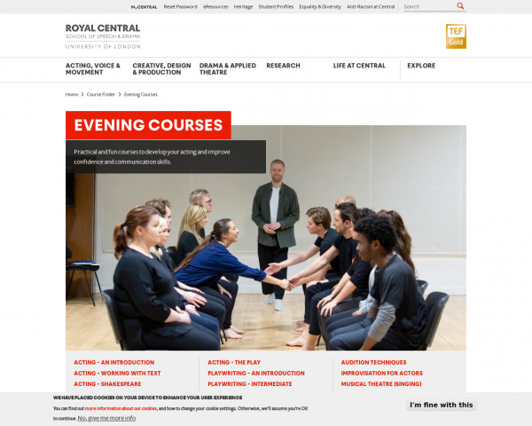 Screenshot of Evening Courses | The Royal Central School of Speech and Drama