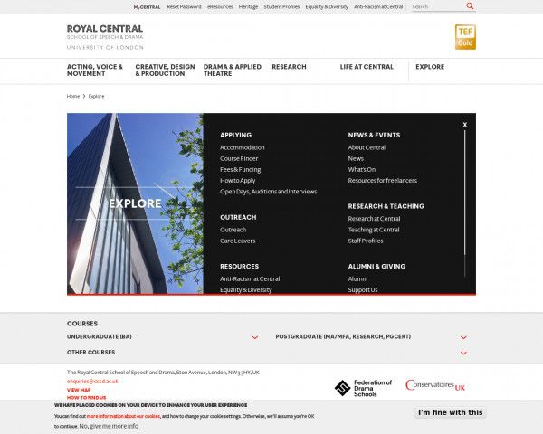 Screenshot of Explore | The Royal Central School of Speech and Drama