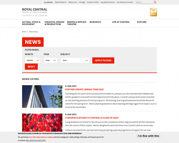 Screenshot of News listing | The Royal Central School of Speech and Drama