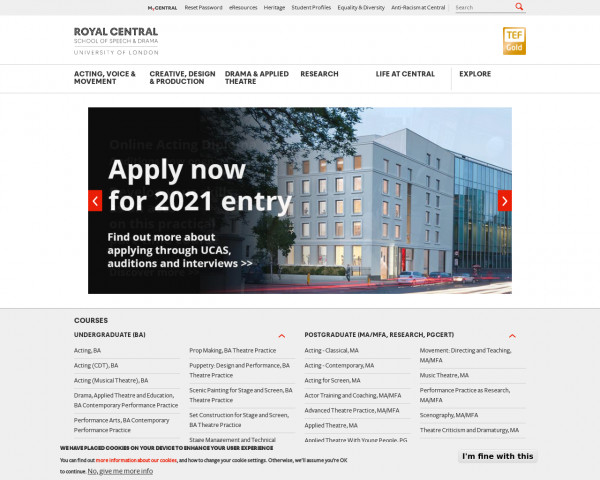 Desktop screenshot of The Royal Central School of Speech and Drama website