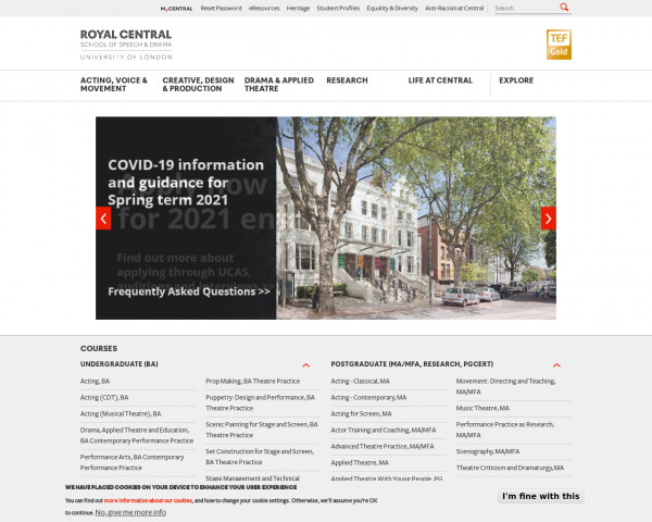 Screenshot of The Royal Central School of Speech and Drama
