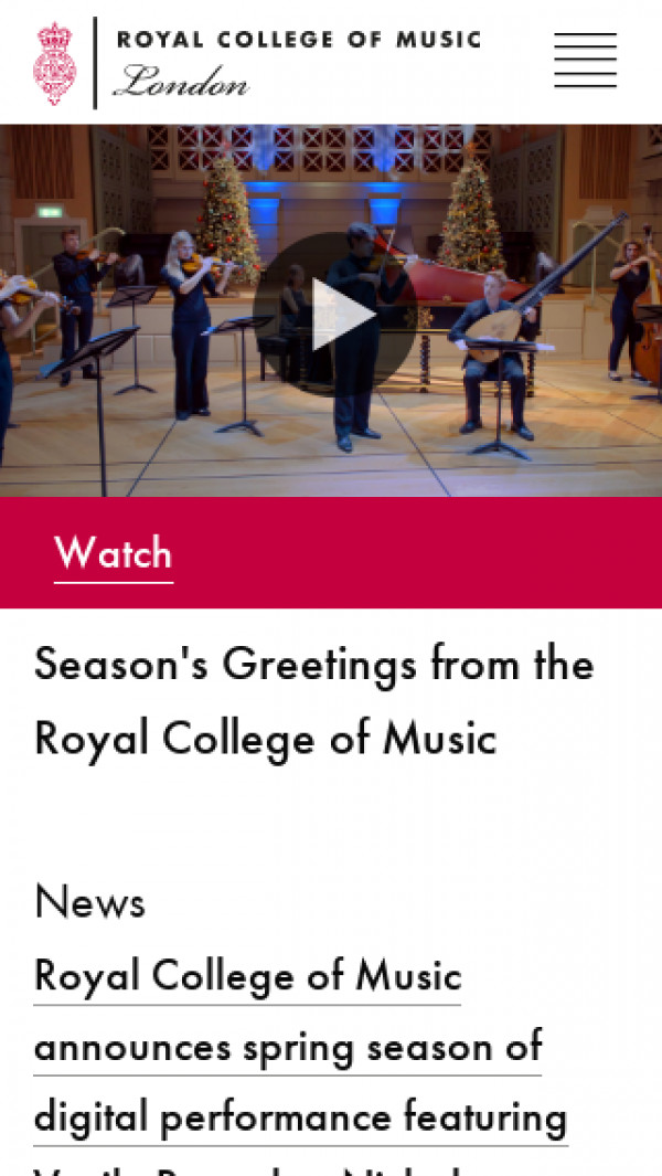 Mobile screenshot of Royal College of Music London website