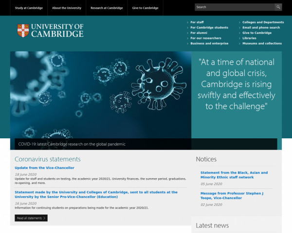 Desktop screenshot of University of Cambridge website