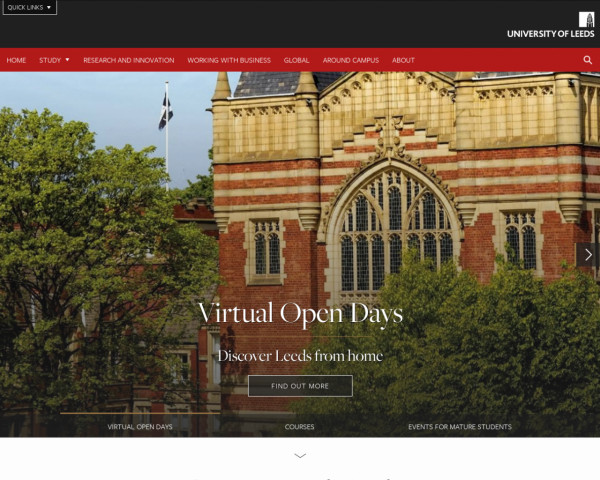 Desktop screenshot of University of Leeds website