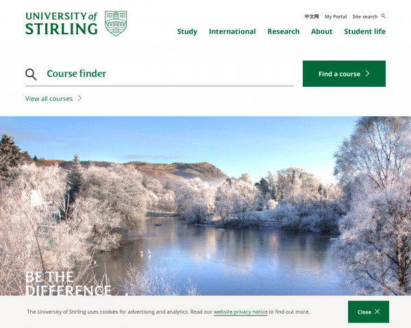 Desktop screenshot of University of Stirling website