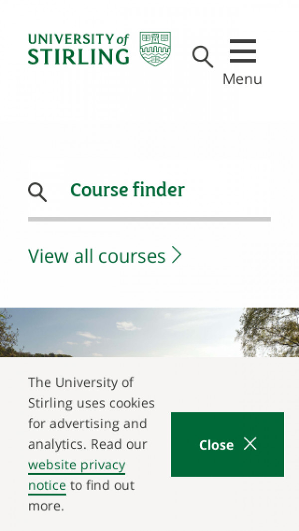Mobile screenshot of University of Stirling website