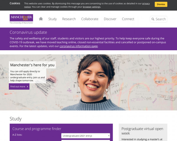 Desktop screenshot of University of Manchester website