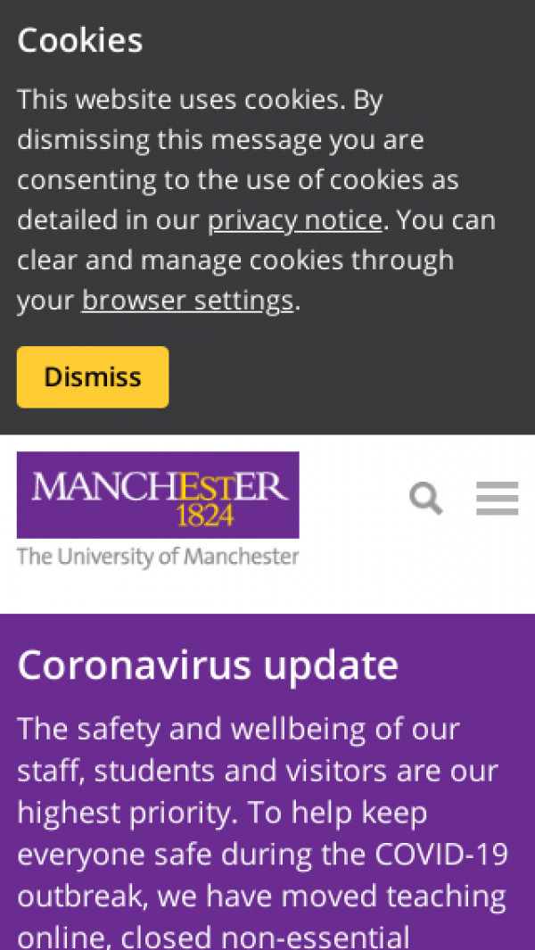 Mobile screenshot of University of Manchester website