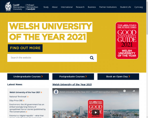 Screenshot of Cardiff Metropolitan University - Study in Cardiff