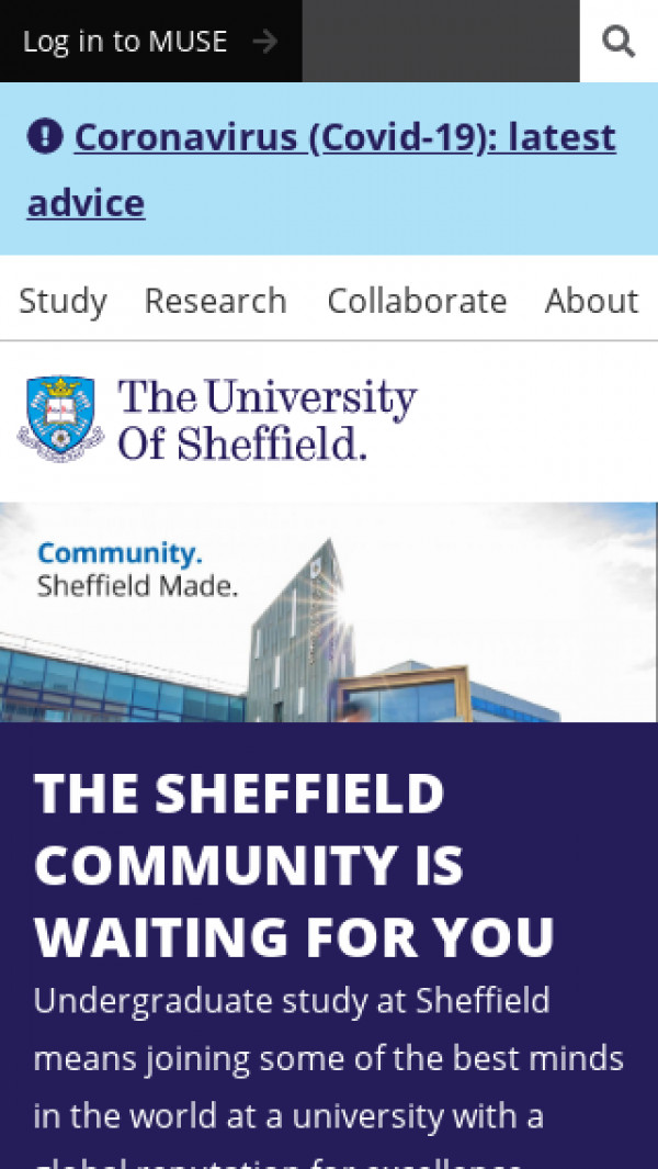 Mobile screenshot of University of Sheffield website
