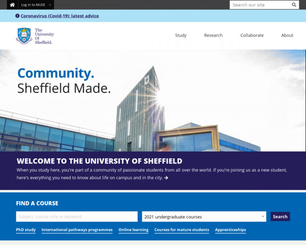Desktop screenshot of University of Sheffield website
