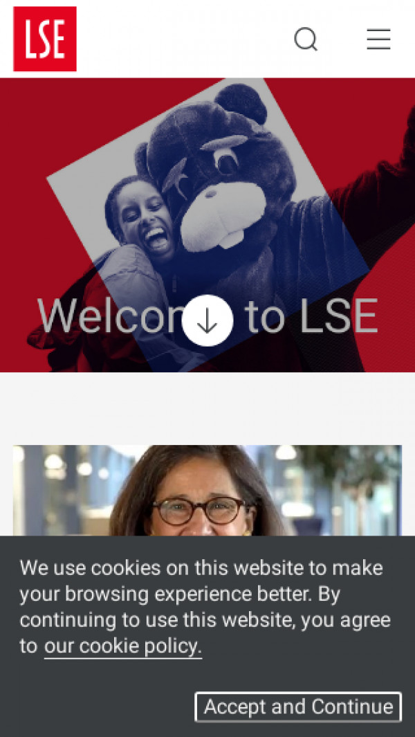 Mobile screenshot of The London School of Economics and Political Science website