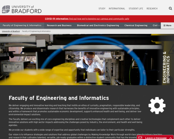 Screenshot of University of Bradford