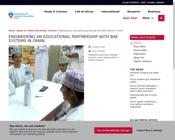 Screenshot of UCLan and BAE host STEM roadshow in Oman | News | University of Central Lancashire