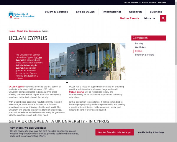 Screenshot of UCLan Cyprus   Campuses   University of Central Lancashire